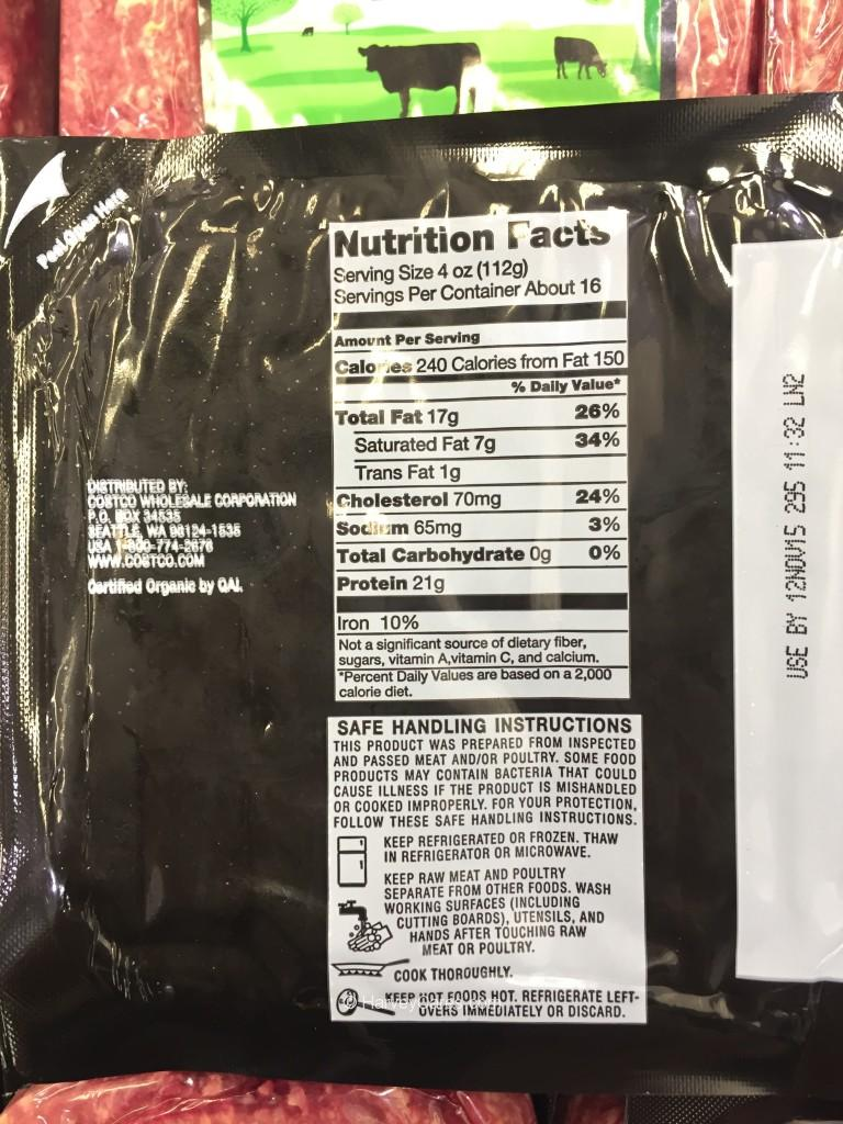 Kirkland Organic Ground Beef Nutrition Facts