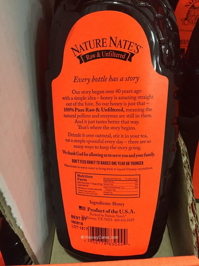 Nature Nate's Raw Unfiltered Honey Nutrition Facts