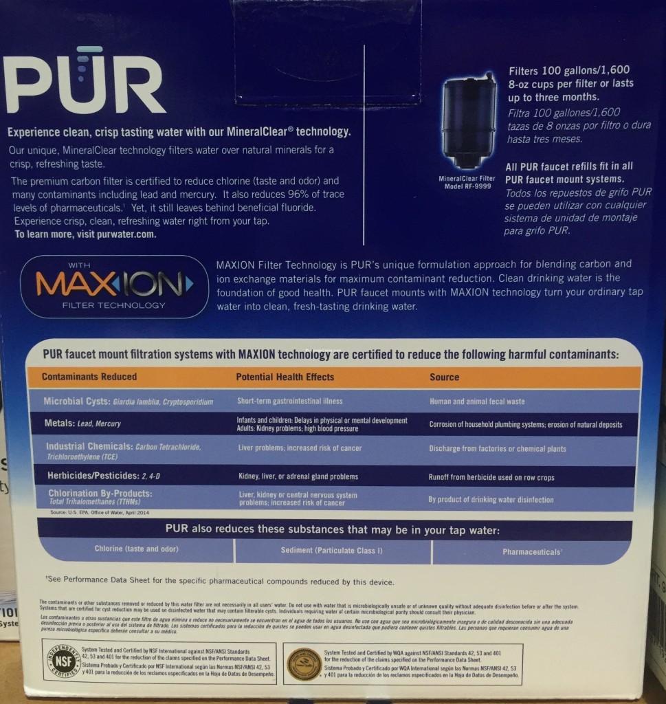 PUR MaxION Faucet Mount Water Filter Back Panel Description
