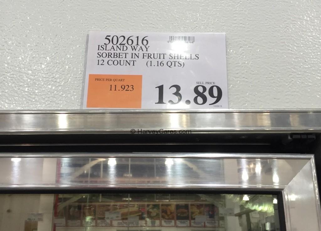 Island Way Fruit Shell Sorbet Costco Price Panel