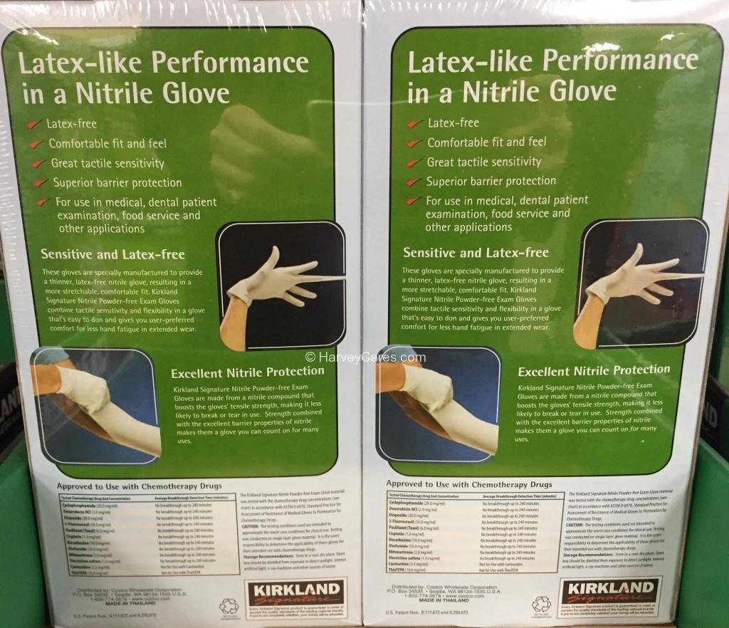 Kirkland Nitrile Exam Latex Free Disposable Gloves Back Panel Description Usage Directions Testing Details