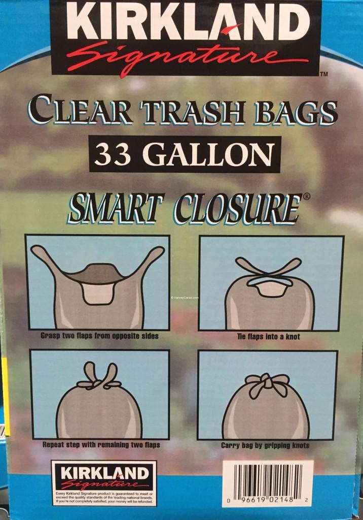 Kirkland Smart Closure Clear Trash Bags Side Panel Description