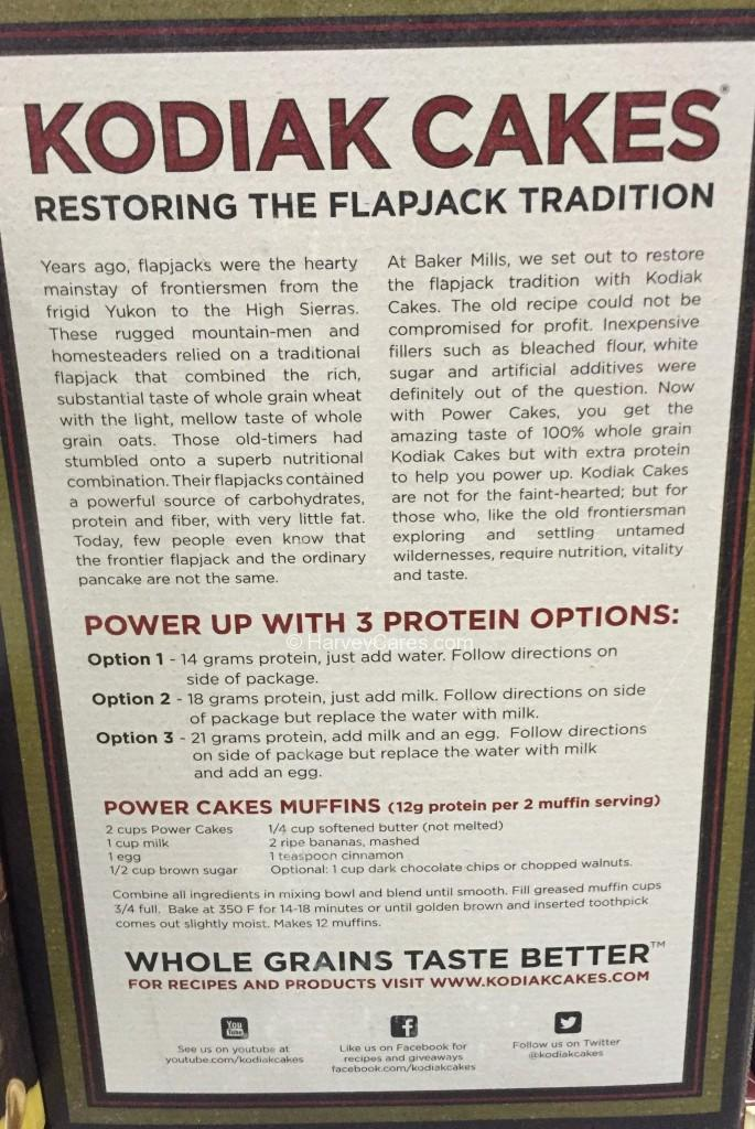 Kodiak Power Cakes Protein Flapjack Waffle Mix Back Panel Description About