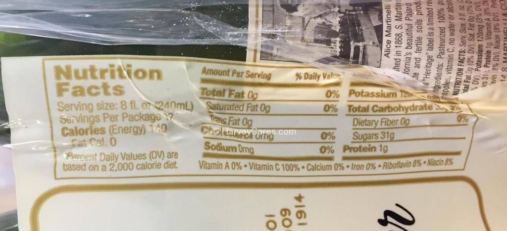 Martinelli's Sparkling Cider Nutrition Facts
