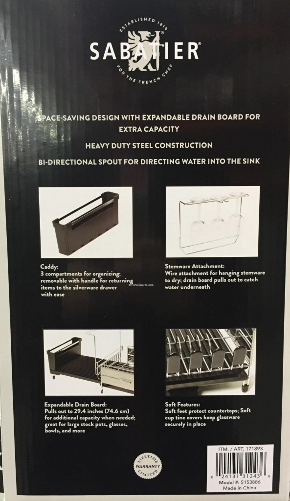 Sabatier Expandable Dish Rack Side Panel Description