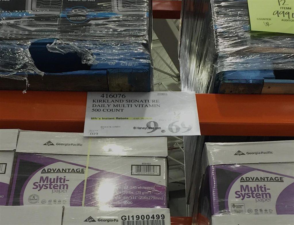 Kirkland Daily Multi Vitamins and Minerals Costco Price Panel
