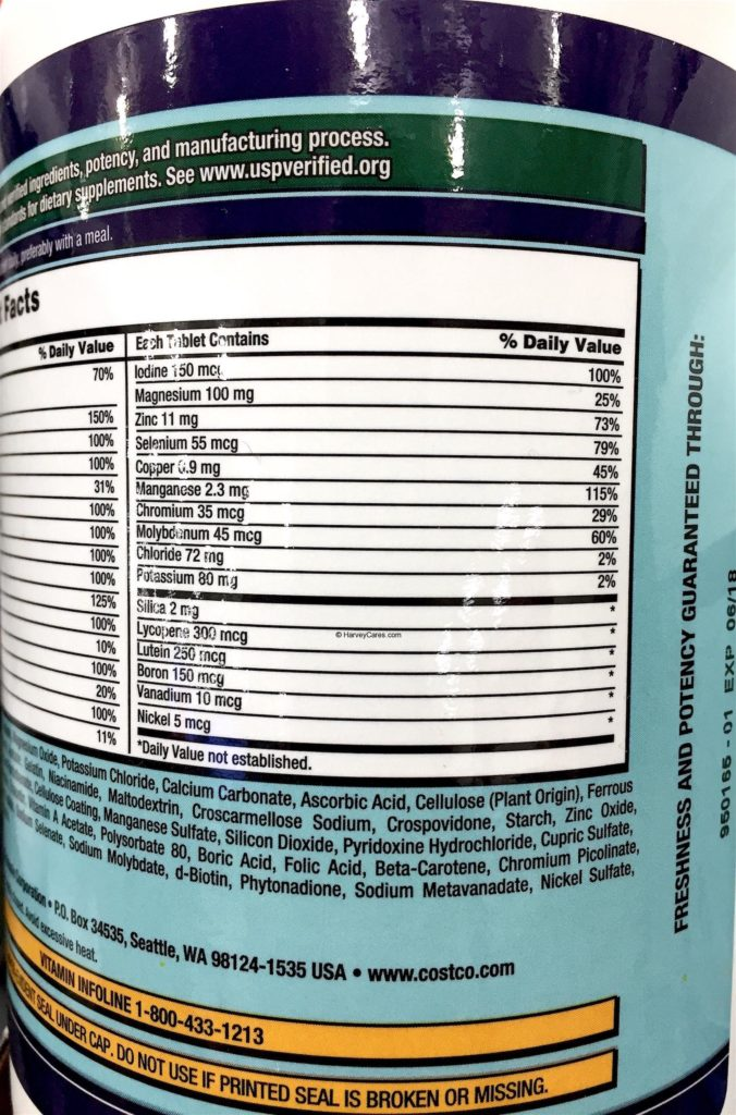 Kirkland Daily Multi Vitamins and Minerals Supplement Facts Testing Results Ingredients 2