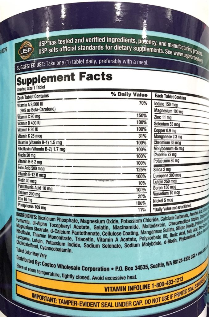 Kirkland Daily Multi Vitamins and Minerals Supplement Facts Testing Results Ingredients