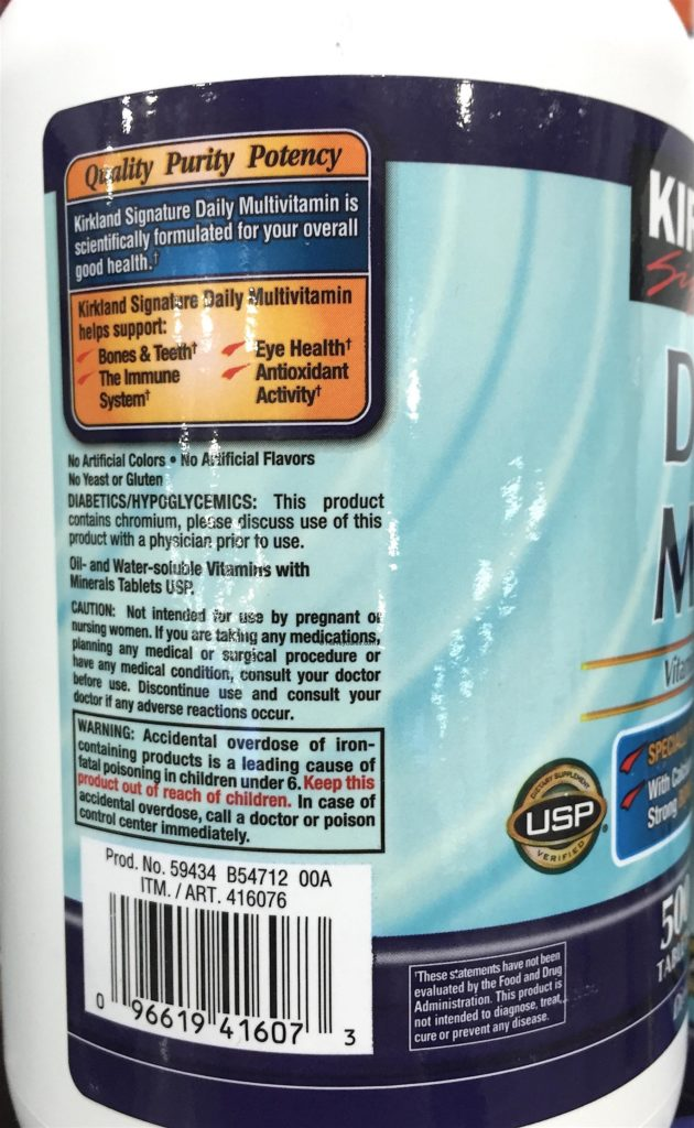 Kirkland Daily Multi Vitamins and Minerals Supplement Purity Potency Testing Instructions