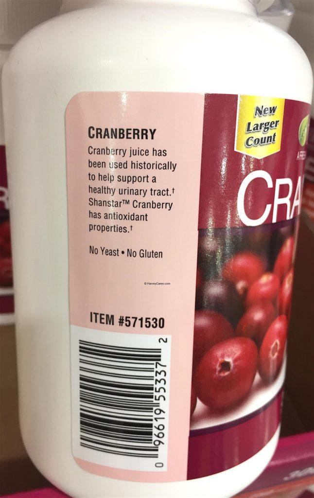 TruNature Cranberry Extract Side Panel Bottle Description Code