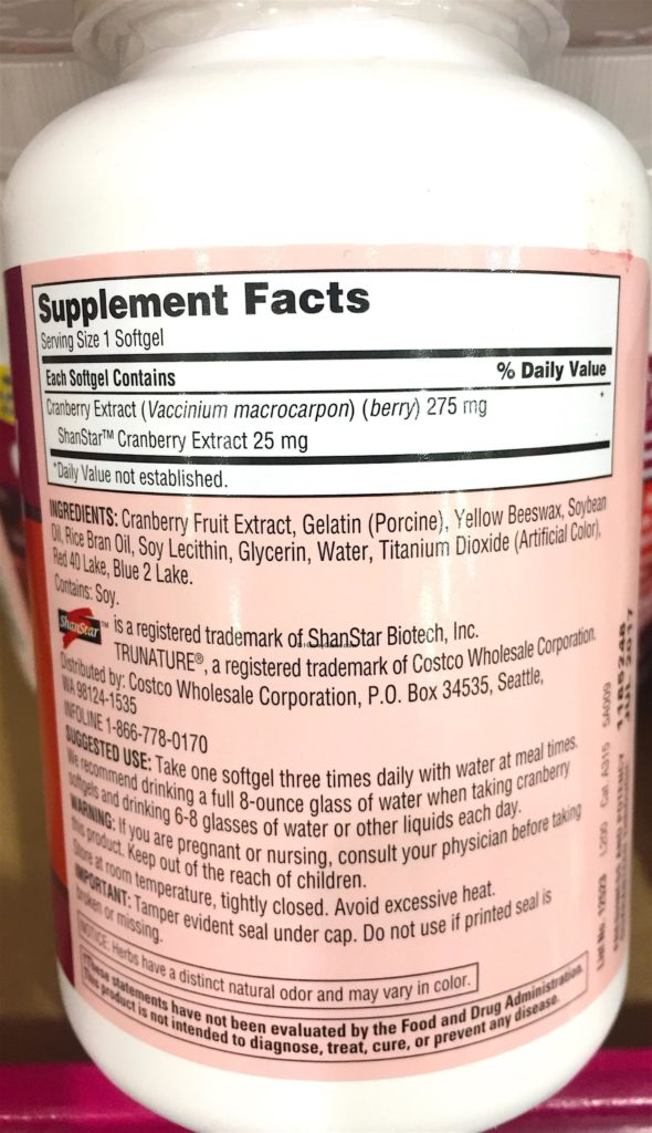 TruNature Cranberry Extract Supplement Facts Ingredits Suggested Use Notice Description Daily Value