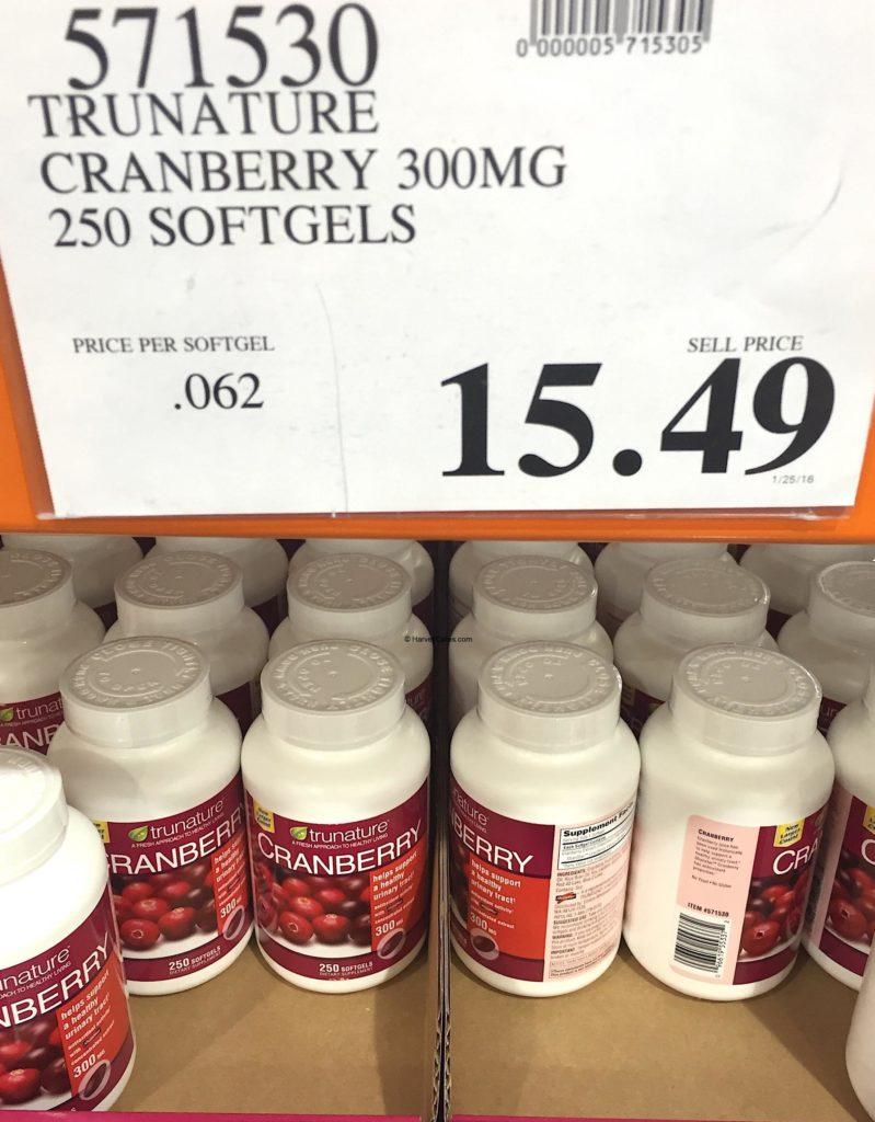 Trunature Cranberry Extract Costco Price Panel Description