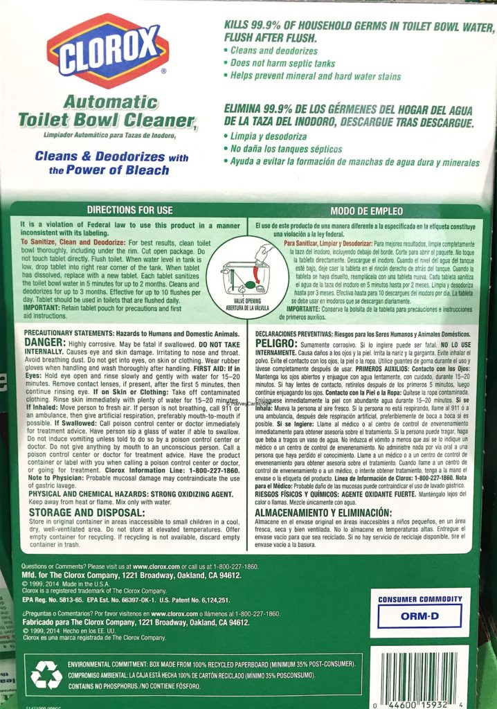 Clorox Automatic Toilet Bowl Cleaner Back Panel Description Product Overview and Details