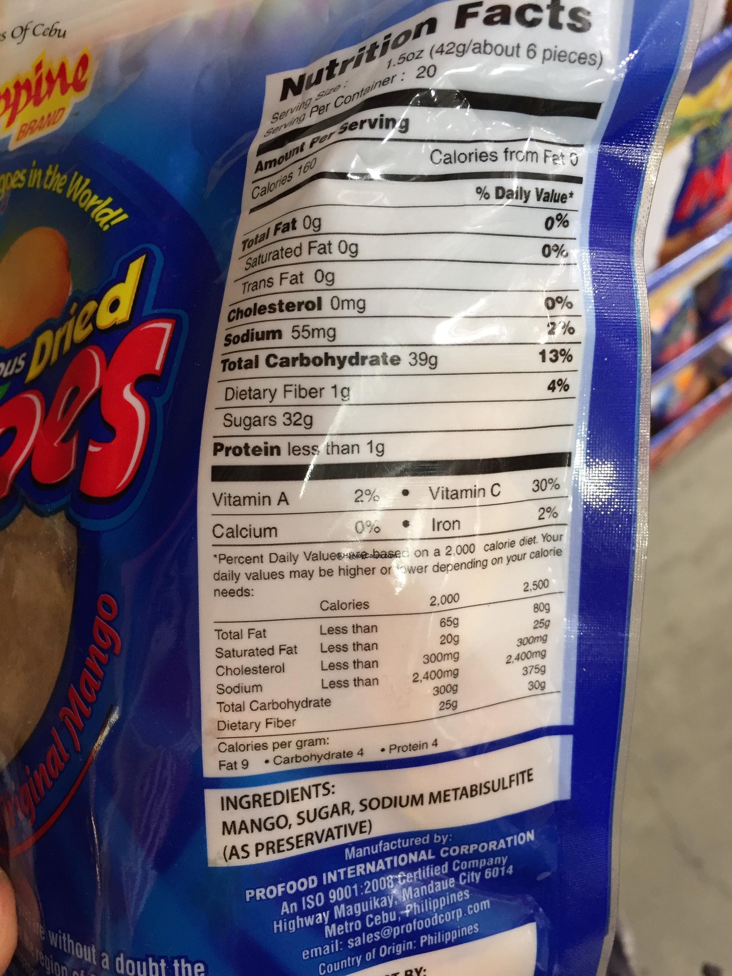 Philippine Brand Dried Mangoes Nutrition Facts Ingredients