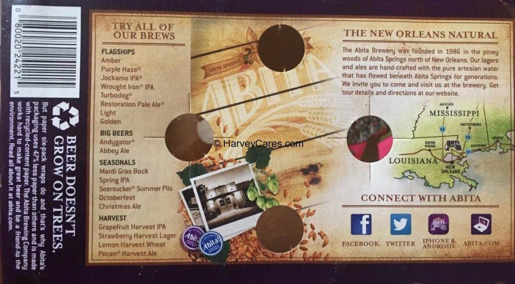 Abita Amber Beer Back Panel Description New Orleans Natural All Brews List