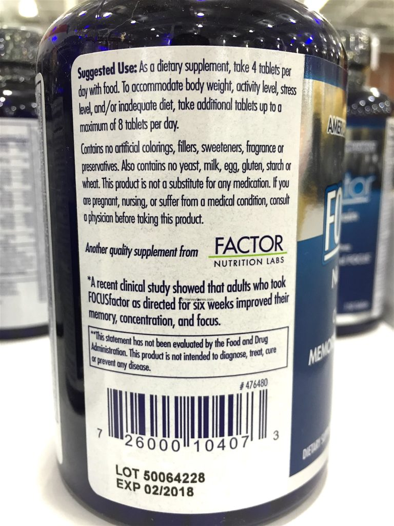 Focus Factor Nutrition Supplement for the Brain Suggested Use Dosage Clinical Study Result Side Panel Description