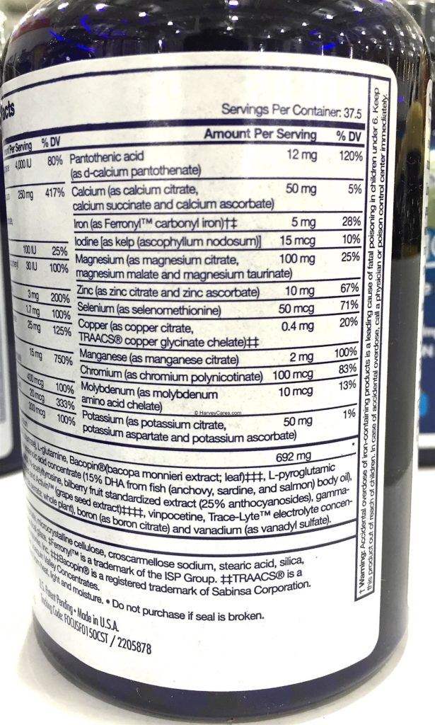Focus Factor Nutrition Supplement for the Brain Supplement Facts Serving Size Ingredients List Side 2