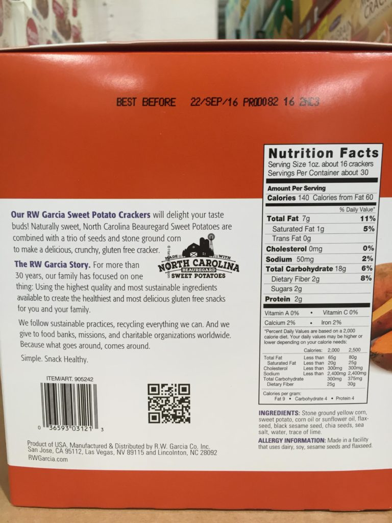 RW Garcia 3 Seed Sweet Potato Crackers Nutrition Facts Ingredients About Product Description Background Family Business