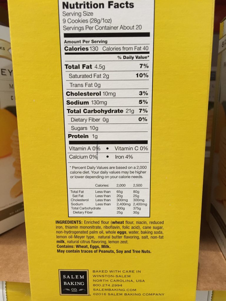 Salem Baking Meyer Lemon Cookie Nutrition Facts Ingredients List Company Information Product