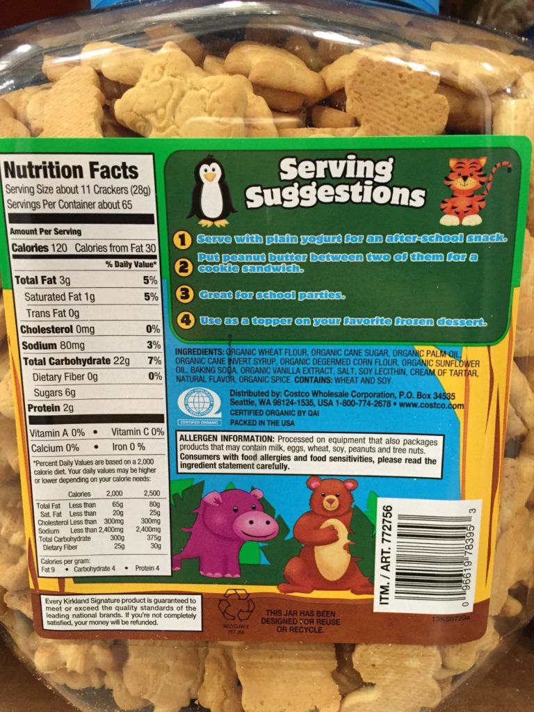 Kirkland Organic Animal Crackers Nutrition Facts Serving Suggestions Ingredients List Product Information