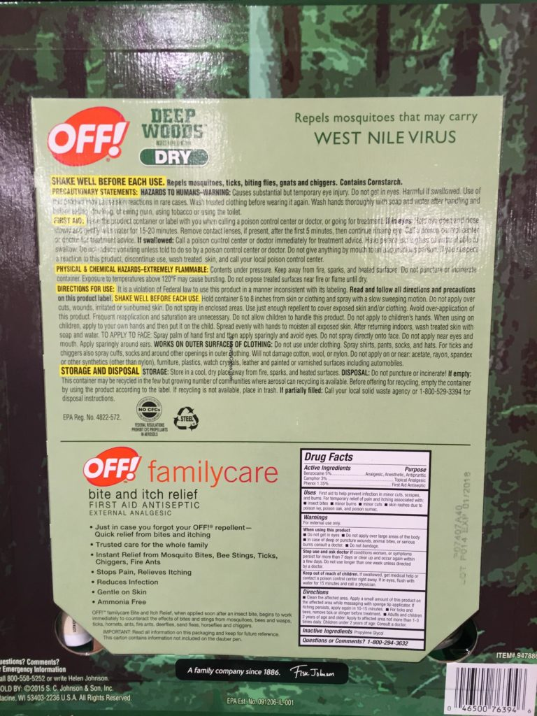 Off Deep Woods Dry Insect Repellent Back Panel Description