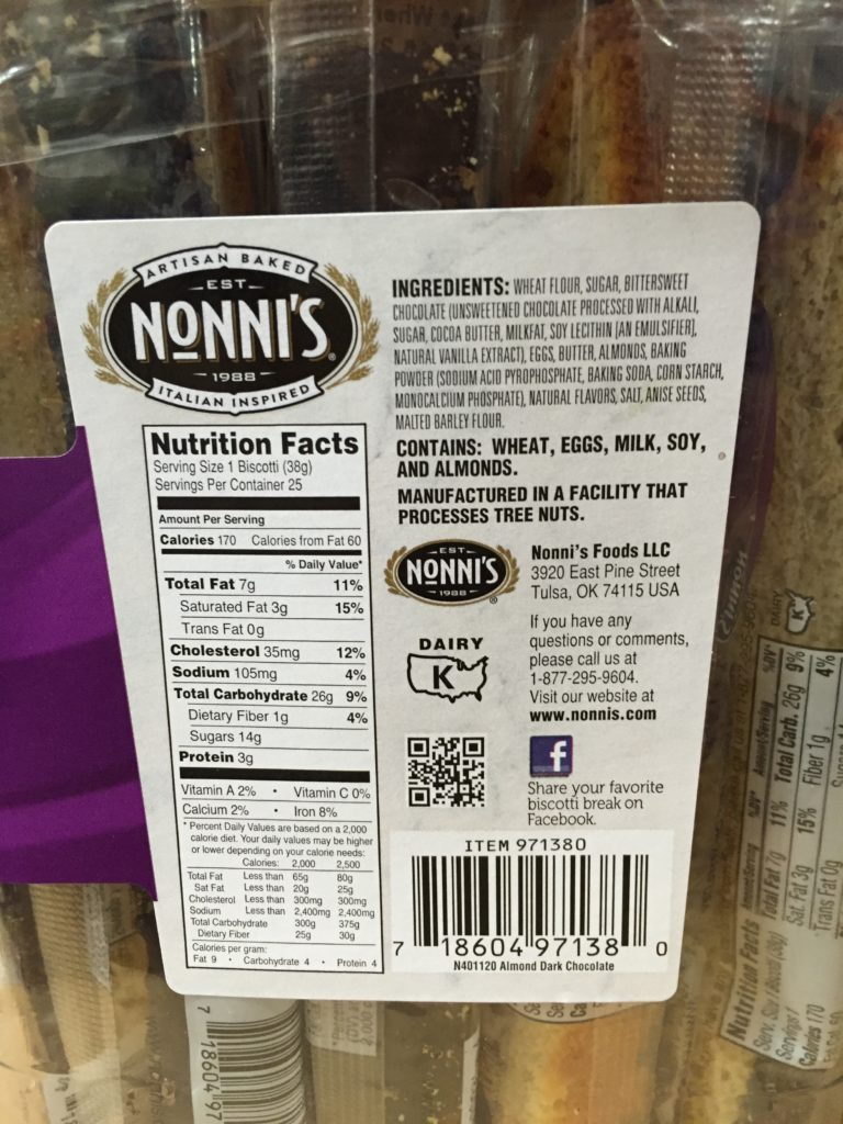 Nonni's Almond Chocolate Biscotti Ingredients List Nutrition Facts About Product Manufacture