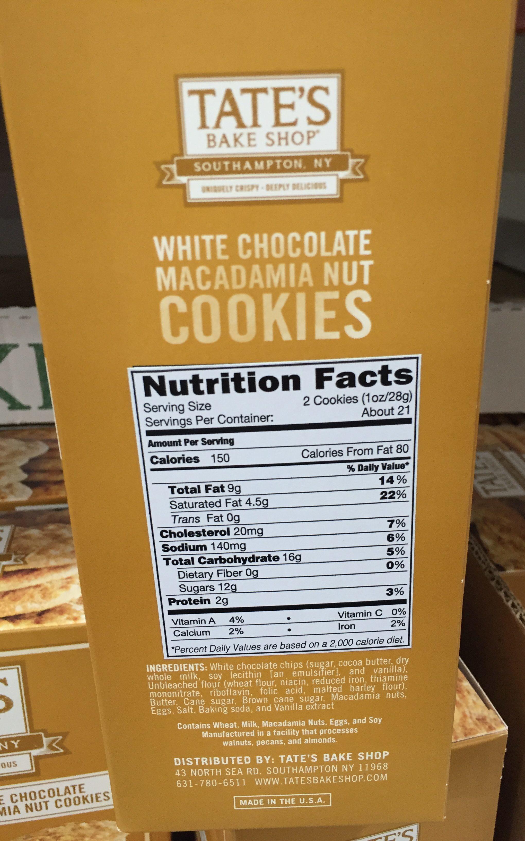 Tate's Crispy White Chocolate Macadamia Cookies Nutrition