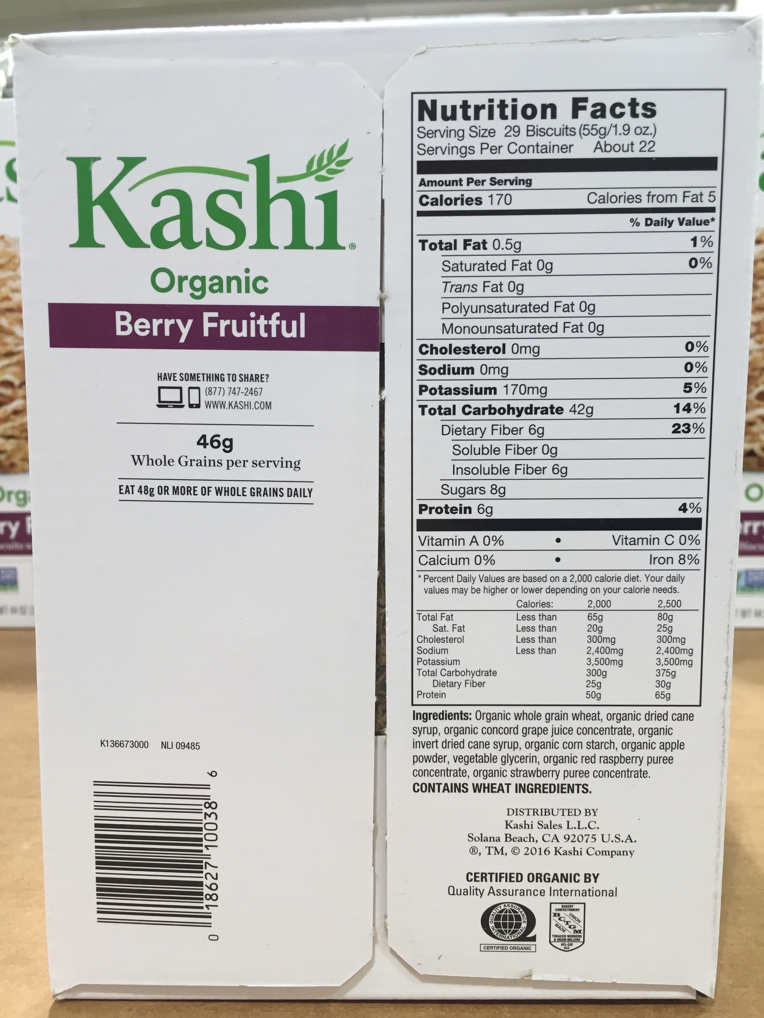 Kashi Organic Berry Fruitful Wheat Cereal Nutrition Facts