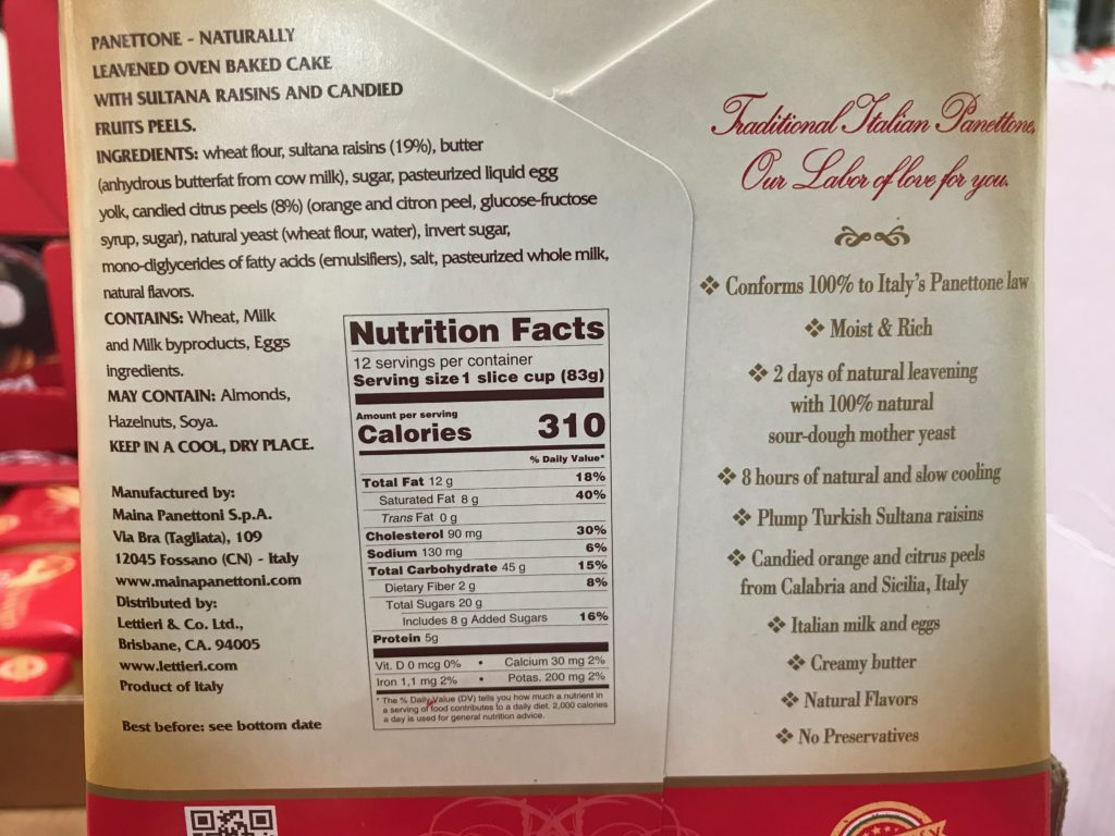 Classic Madi Gran Panettone Italian Baked Cake Ingredients List and Nutrition Facts