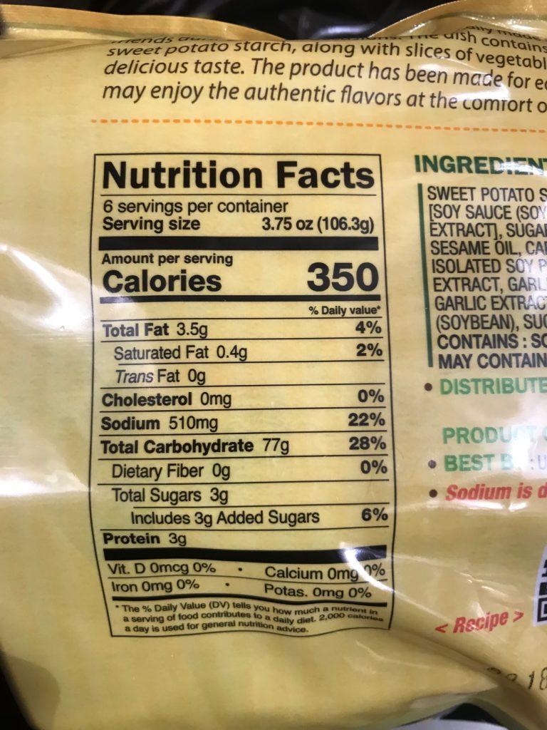Japchae Korean Glass Noodles Nutrition Facts