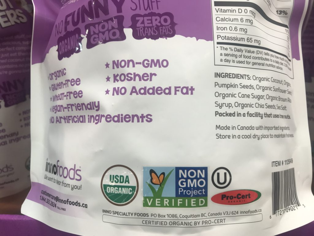 InnoFoods Coconut Clusters Ingredients List USDA Organic