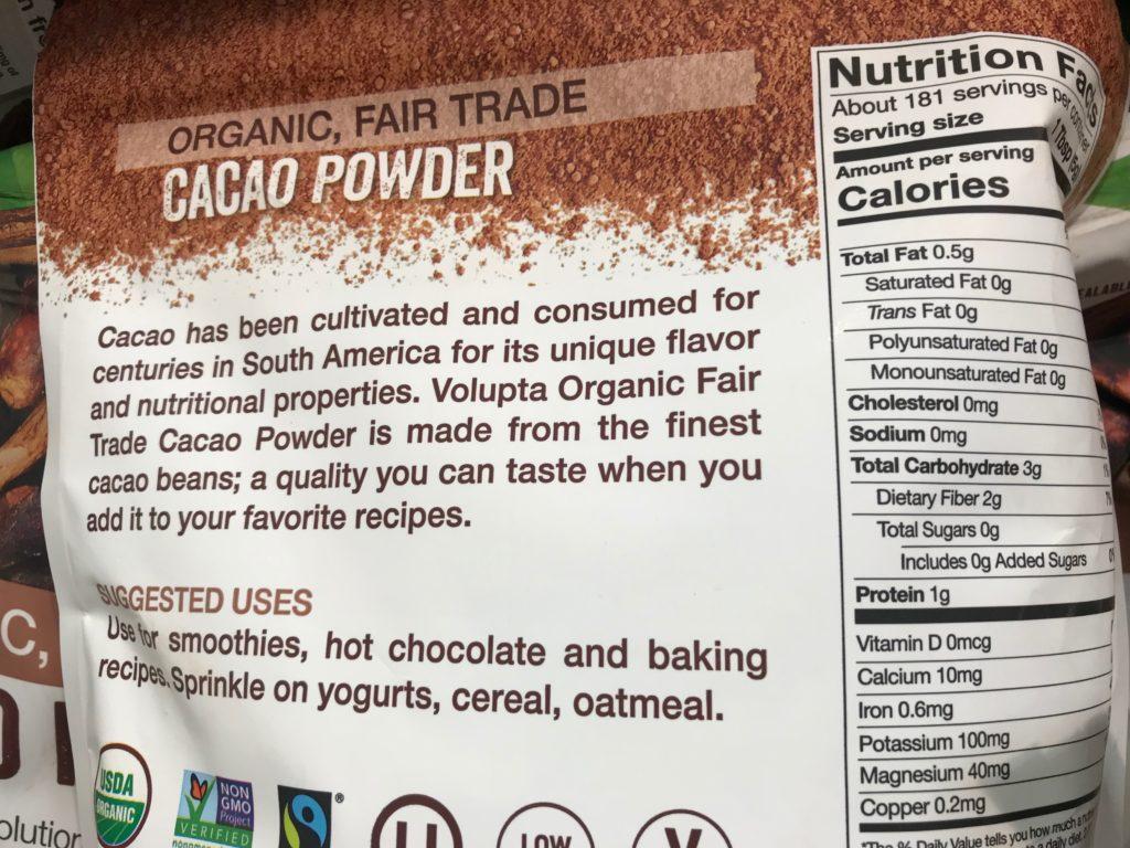 Volupta Organic Cacao Powder Product Description Nutrition Facts