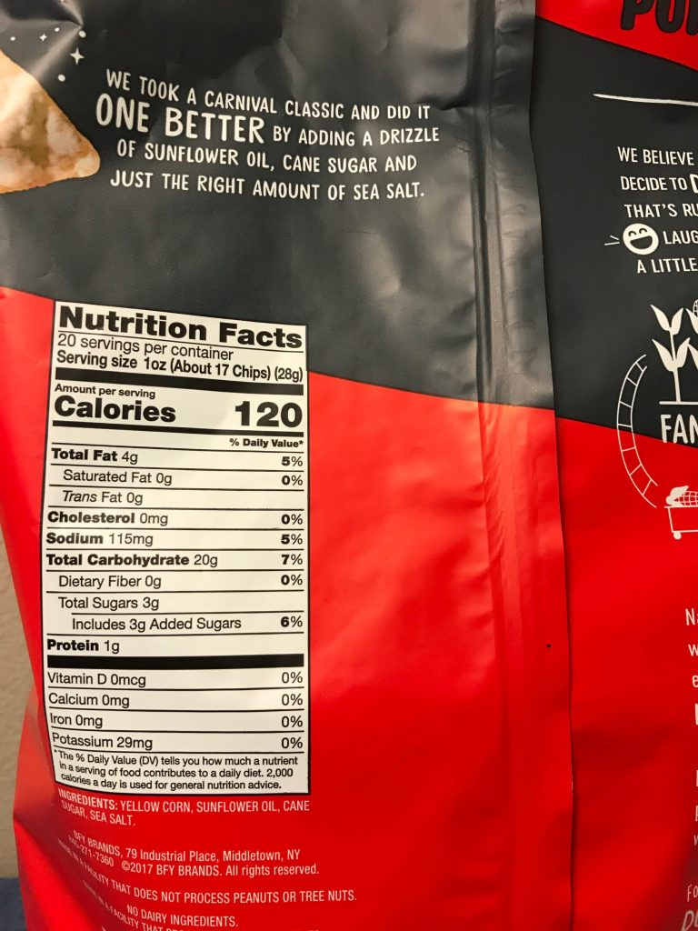 Crunchy Popcorners Kettle Corn Snack Nutrition Facts Product Description