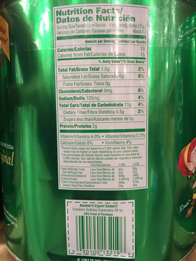 Keebler Export Soda Crackers Nutrition Facts
