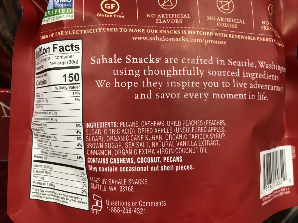 Sahale Cinnamon Peach Pecans Ingredients List Nutrition Facts