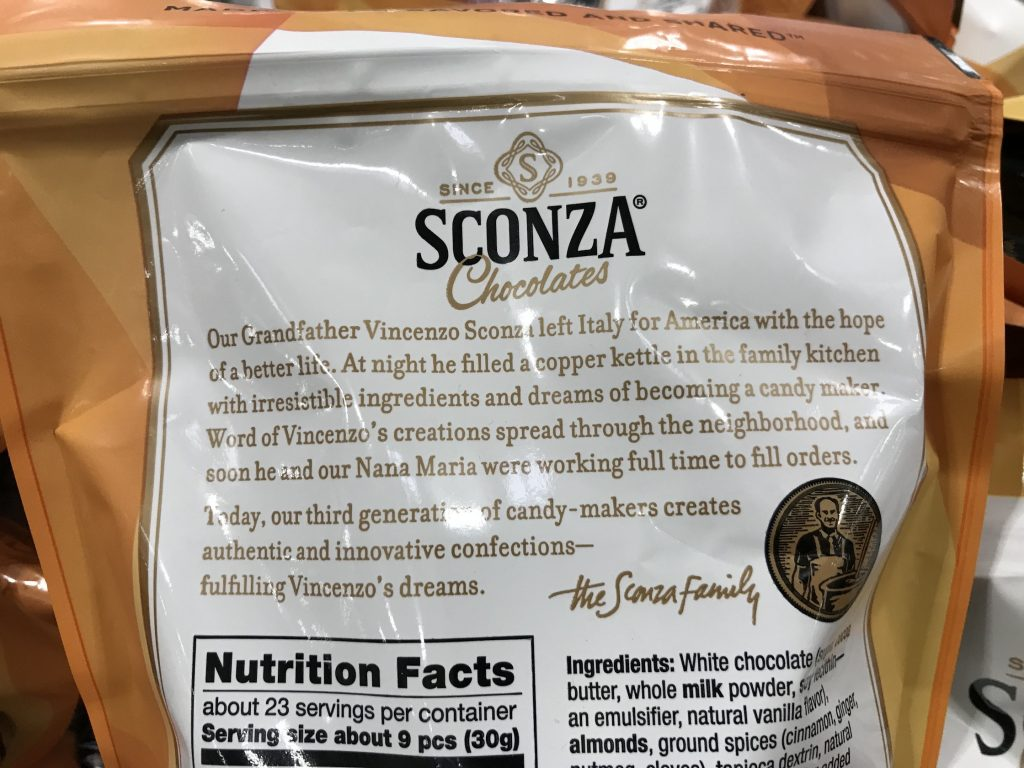 Sconza Pumpkin Spice Chocolate Almonds Product Description Background