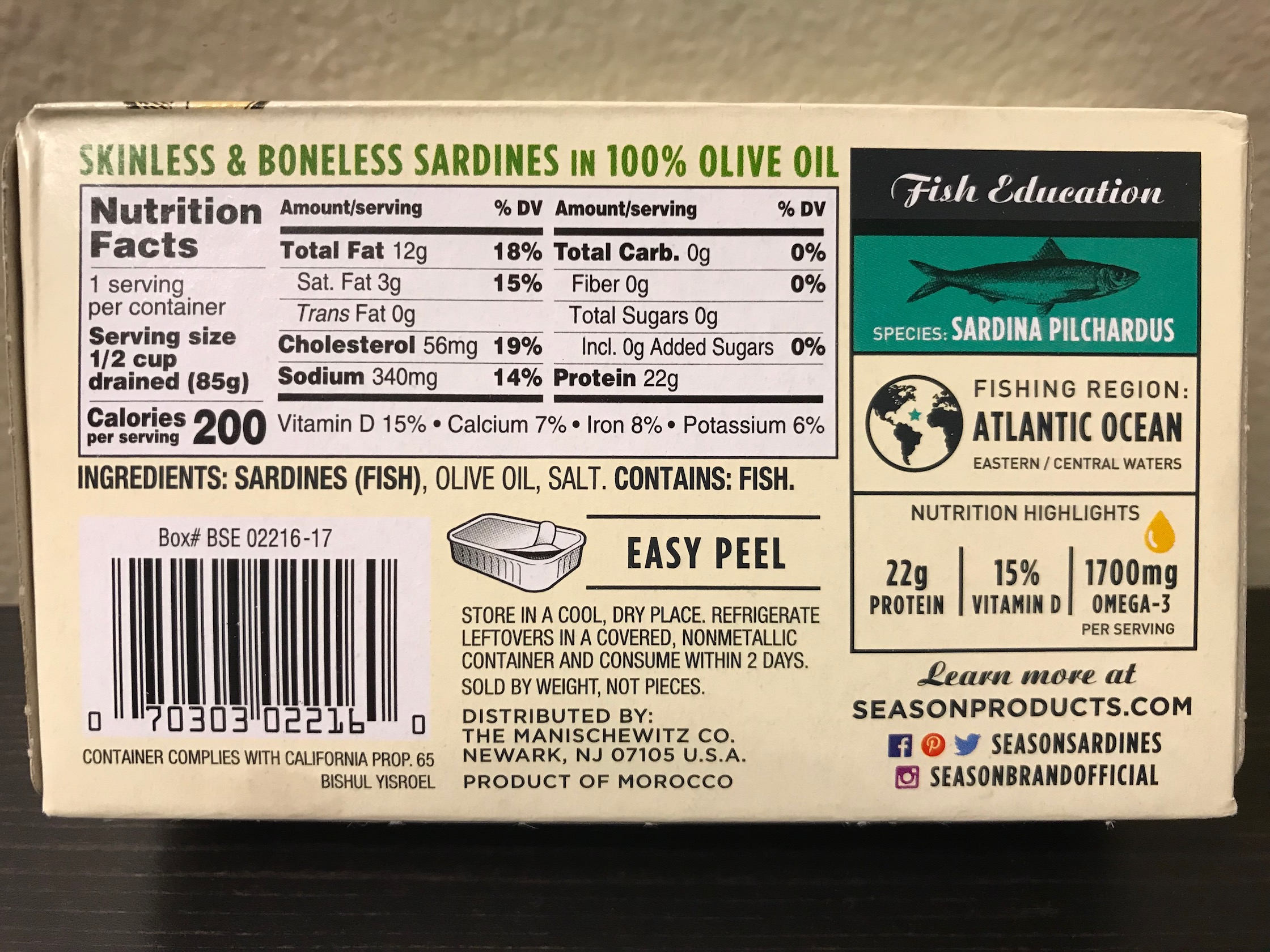 Season Wild Caught Sardines in Olive Oil Nutrition Facts