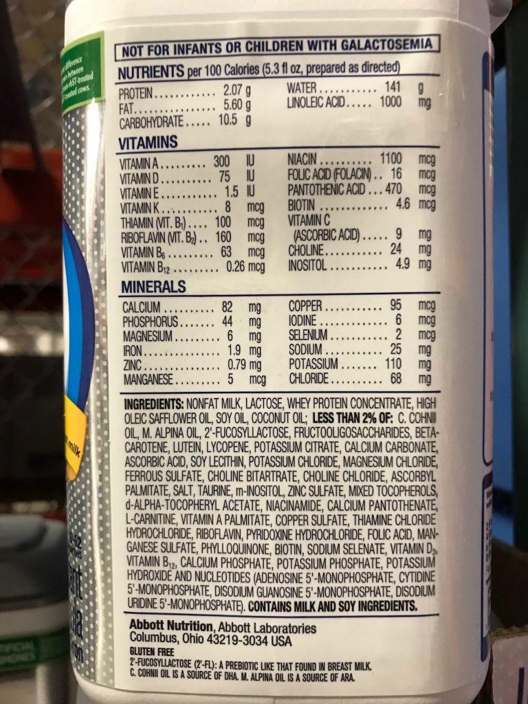 Similac Pro-Advance Infant Formula Ingredients List Nutrition Information Panel